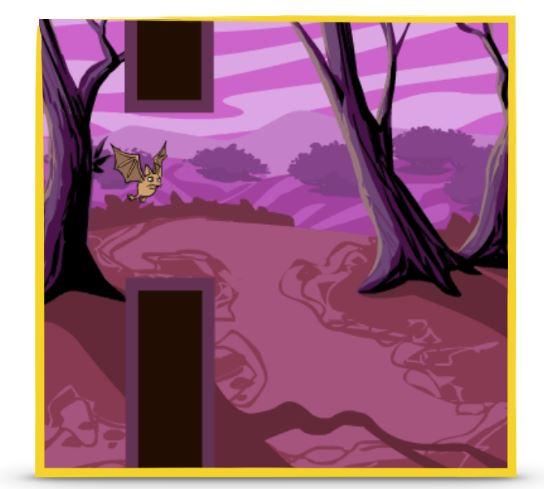 """Een afbeelding van """"flappy bat"""", het uiteindelijke spel. Een vleermuis vliegt een gat in een muur door tegen een spookachtige achtergrond."""