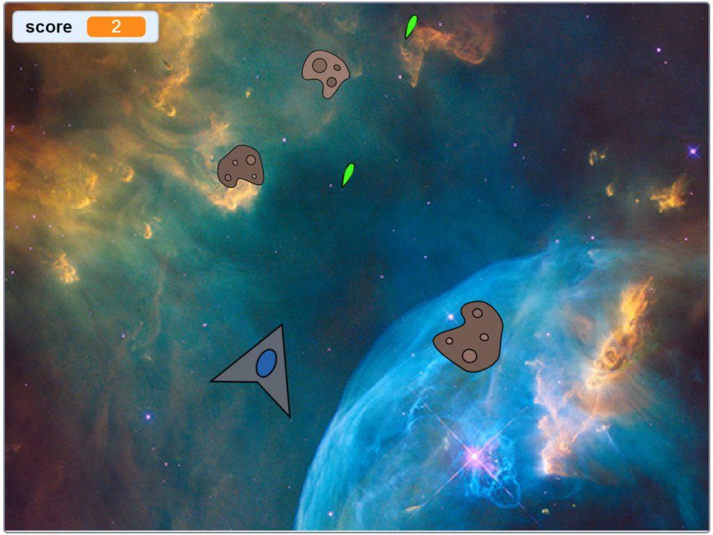 Een screenshot van het uiteindelijke asteroïde computerspel.