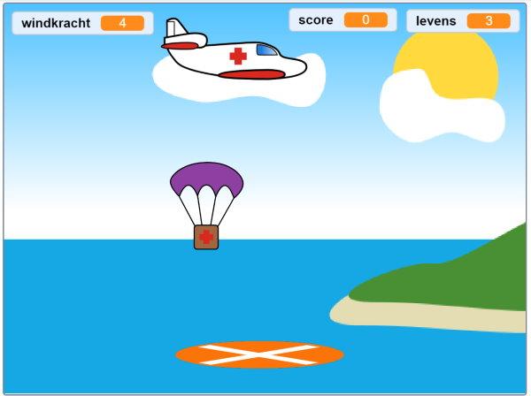 Een screenshot van hoe het spel eruit komt te zien. Een vliegtuig van het rode kruis vliegt over een zee, naast een eiland. Een krat valt eruit, aan een parachute.
